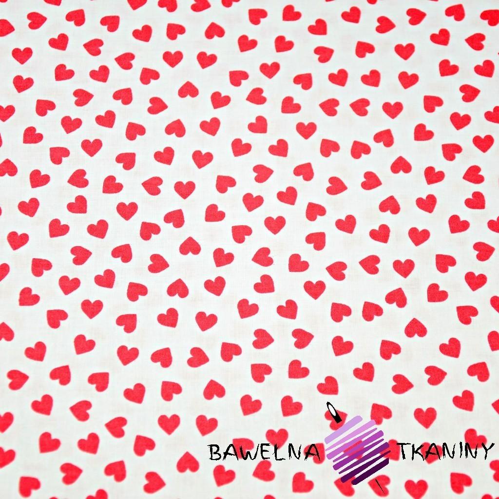 Bawełna serduszka MINI czerwone na białym tle