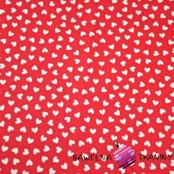 serduszka MINI białe na czerwonym tle