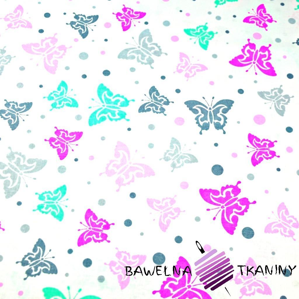Bawełna motylki szaro różowo miętowe z kropeczkami na białym tle