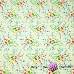 Bawełna łączka drobna różowo niebieska na ecru tle
