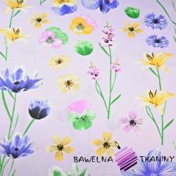 Bawełna kwiaty wiosenne na wrzosowym tle