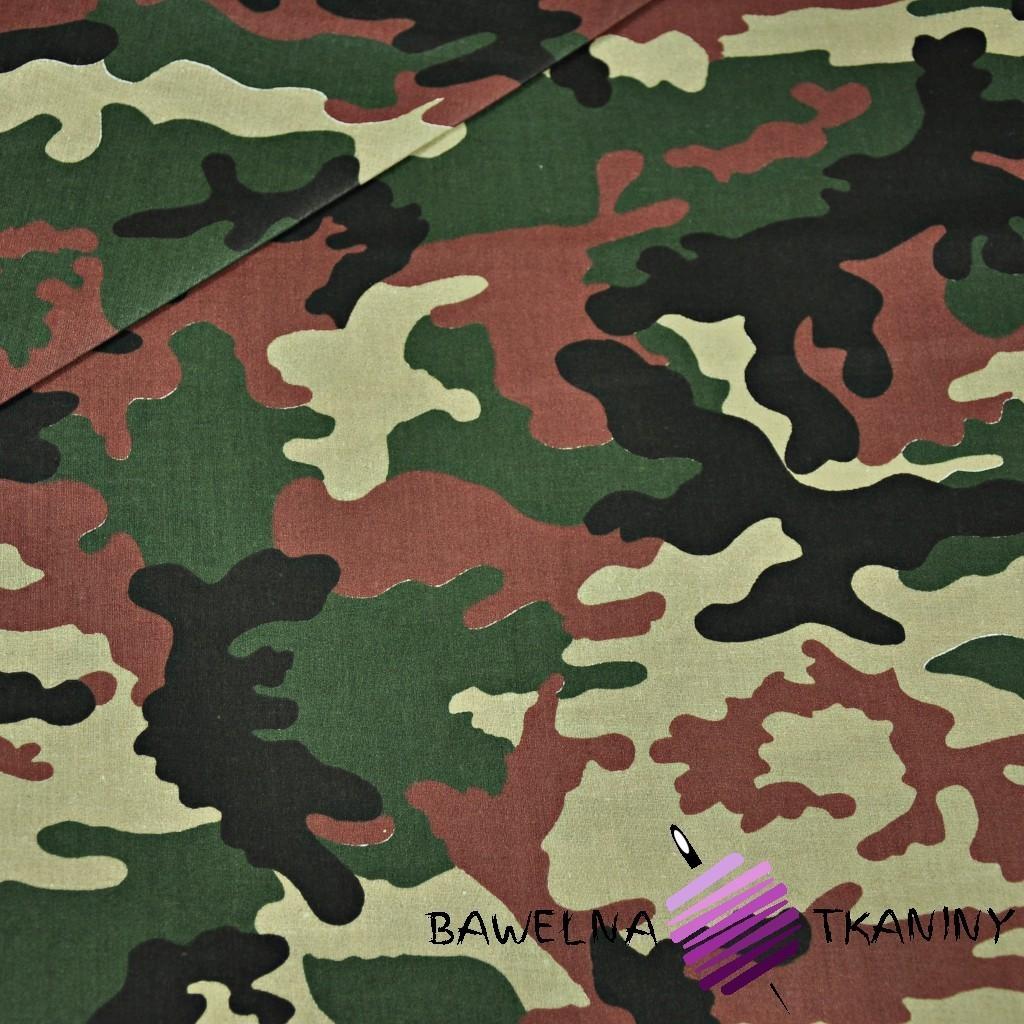 Bawełna wzór MORO duży zielono brązowy
