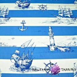 Cotton blue sailor's stripes on white background