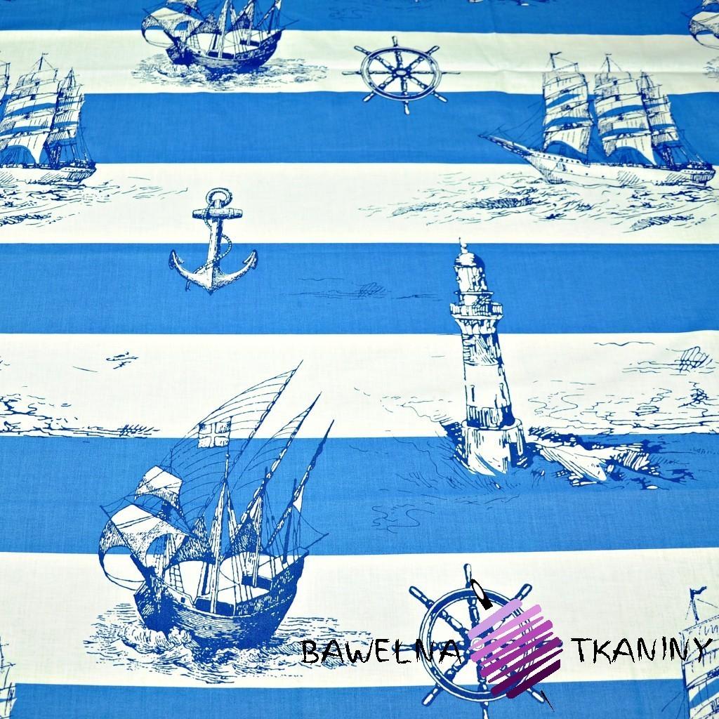 Bawełna statki w biało niebieskie pasy