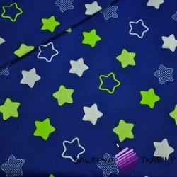 Bawełna gwiazdki piernikowe biało limonkowe na granatowym tle