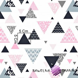 Cotton gray & pink triangles  on a white background