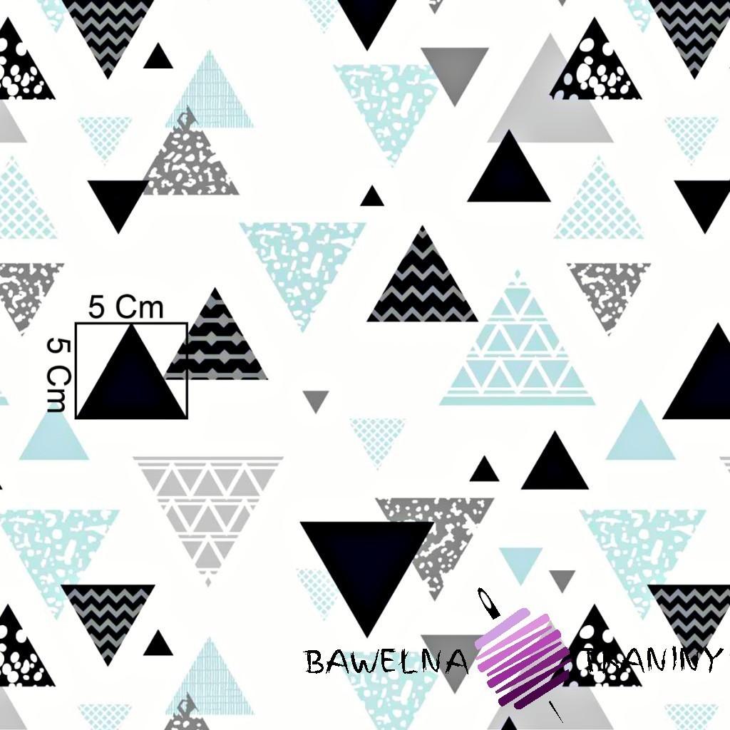 Bawełna trójkąty wzorzyste szaro miętowe na białym tle