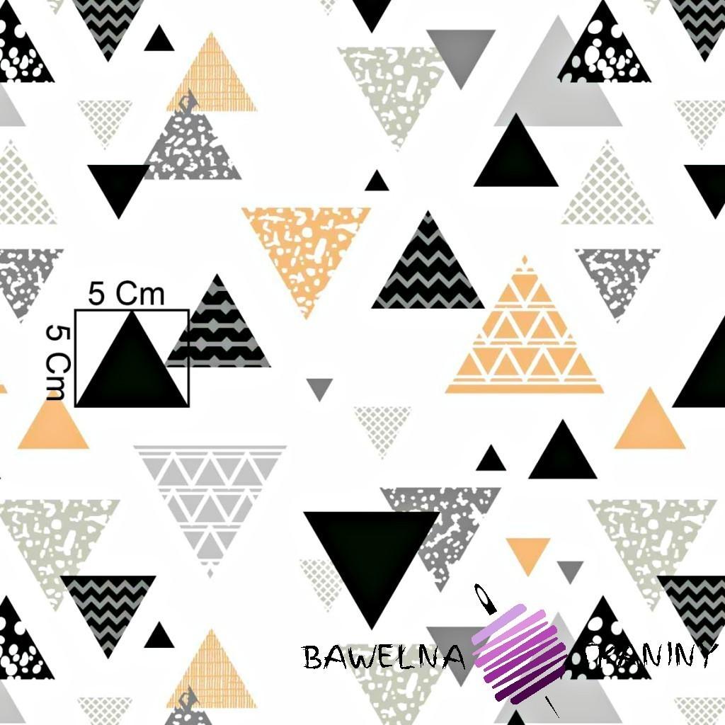 Bawełna trójkąty wzorzyste szaro pomarańczowe na białym tle