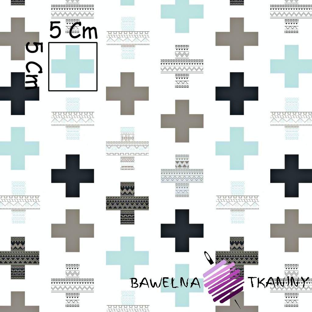 Bawełna plusy wzorzyste szaro miętowe na białym tle