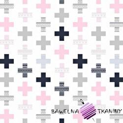 Bawełna plusy wzorzyste szaro różowe na białym tle
