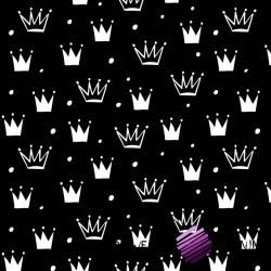 Bawełna korony z kropkami białe na czarnym tle