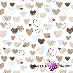 Bawełna serca wzorzyste brązowe na białym tle