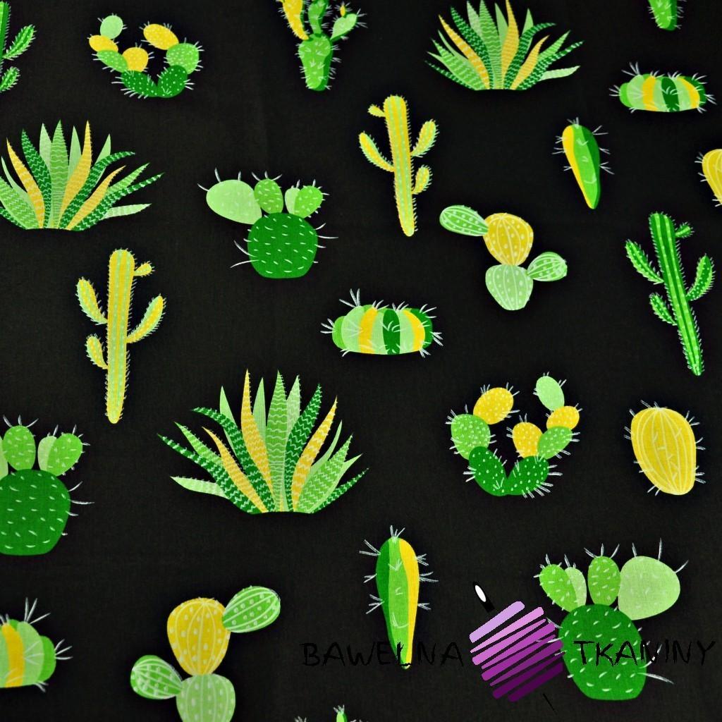 Bawełna kaktusy zielone na czarnym tle