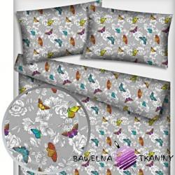 Bawełna motylki kolorowe z kwiatkami na szarym tle