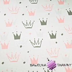 Bawełna korony z kropkami szaro różowe na białym tle