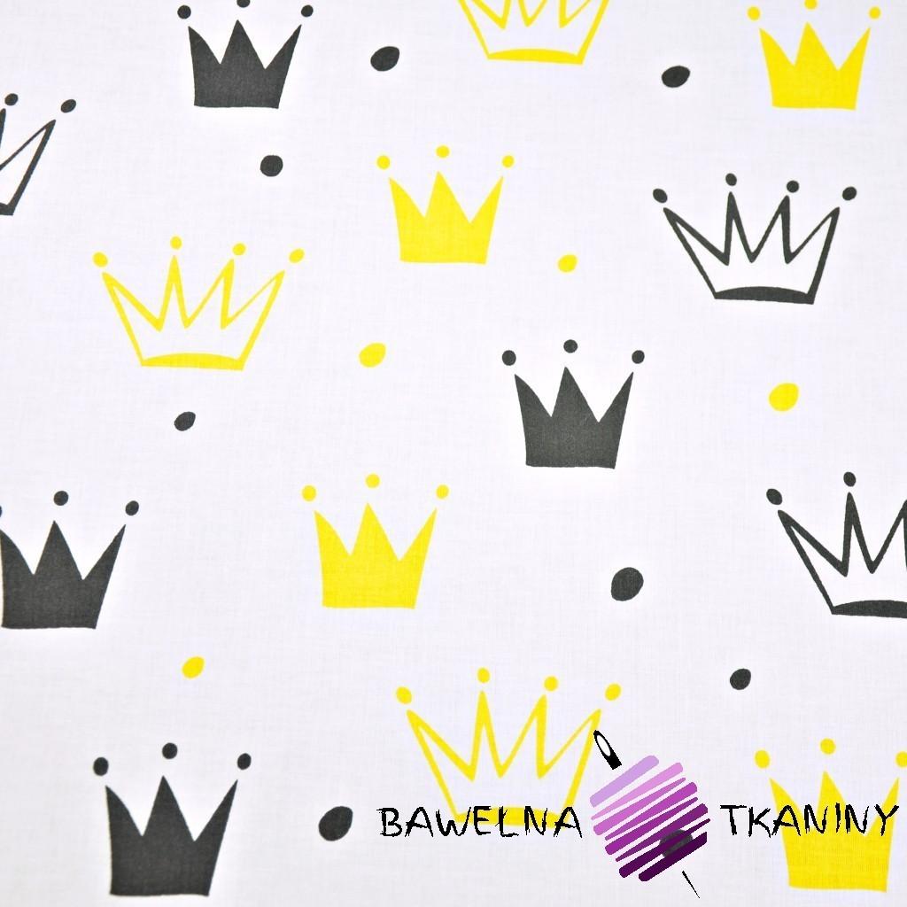 Bawełna korony z kropkami czarno żółte na białym tle