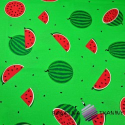 Bawełna arbuzy na zielonym tle