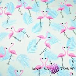 Bawełna flamingi z listkami różowo błękitne na białym tle
