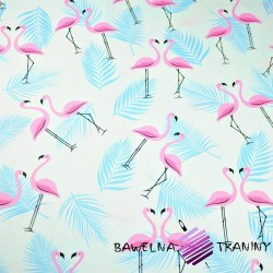 Cotton blue-pink flamingos on a white background