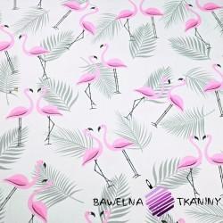 Bawełna flamingi z listkami różowo szare na białym tle