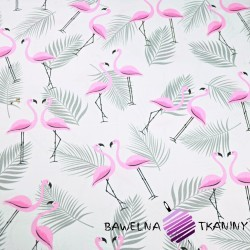Cotton blue-pink flamingos with gray leaves on a white background