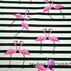 Bawełna flamingi z pasami różowo czarnymi na białym tle