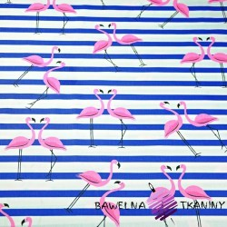Cotton pink flamingos with navy stripes on a white background