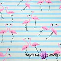 Cotton pink flamingos with light blue stripes on a white background