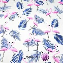 Bawełna flamingi z listkami różowo granatowe na białym tle