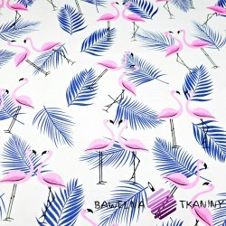 Cotton blue-pink flamingos with navy leaves on a white background