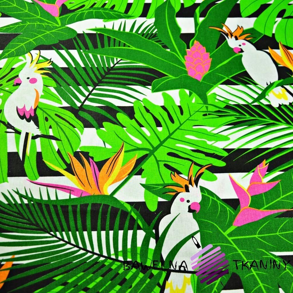 Bawełna papugi białe na zielonych liściach na pasach