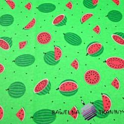 Bawełna arbuzy małe zielone na zielonym tle