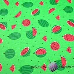 Cotton small green watermelons on green background