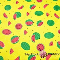 Bawełna arbuzy małe zielone na żółtym tle
