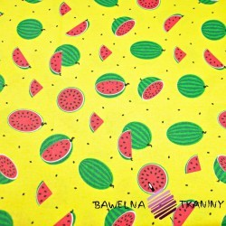 Cotton small green watermelons on yellow background