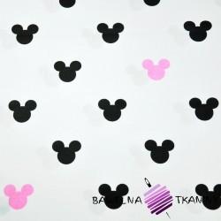 Bawełna MIKI czarno różowe na białym tle