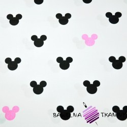 Cotton black & pink mickey mouse on white background