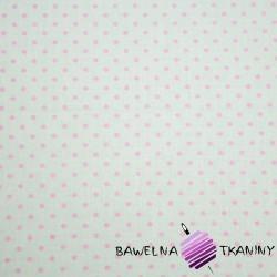 Bawełna kropki różowe na białym tle