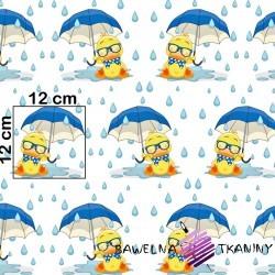 Bawełna kaczuszki z niebieskim parasolem na białym tle