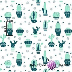 Bawełna kaktusy miętowo zielone na białym tle