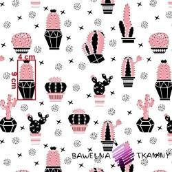 Bawełna kaktusy różowo czarne na białym tle