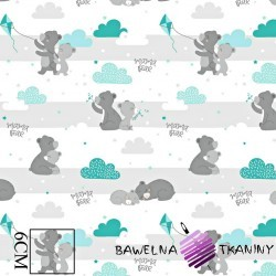 Cotton gray teddy bears with a mint kite on a white background