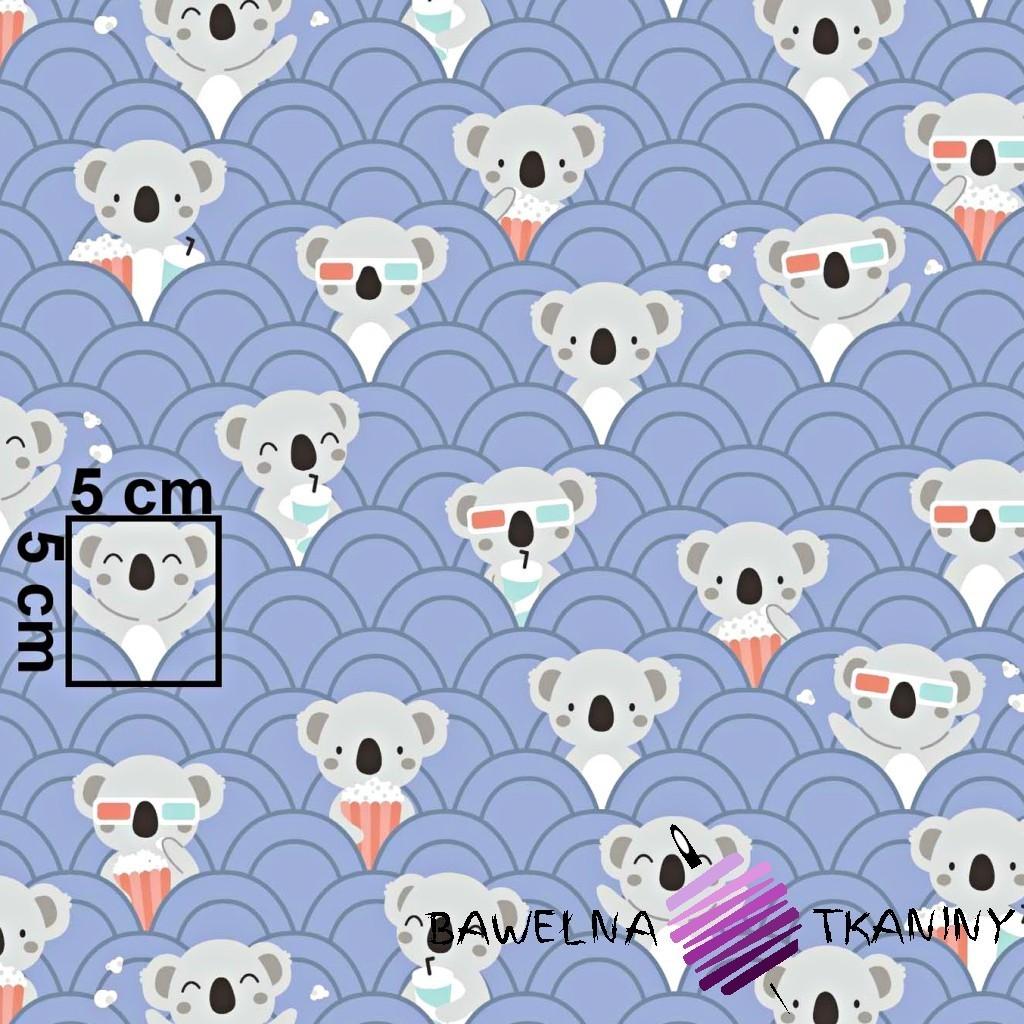 Bawełna misie koala w kinie na fioletowym tle