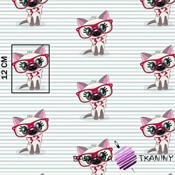 Cotton cats in red glasses on a striped background