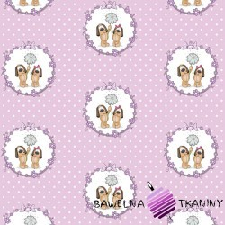 Cotton dogs in circles on a purple dot background