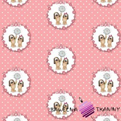 Cotton dogs in circles on a pink dot background
