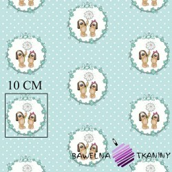 Cotton dogs in circles on a mint dot background