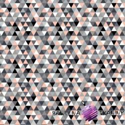 Bawełna trójkąty małe kolorowe morelowe na białym tle
