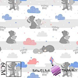 Cotton gray teddy bears with a pink kite on a white background