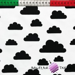 Cotton black clouds on white background